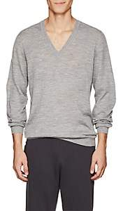 Tomas Maier MEN'S FINE-GAUGE KNIT WOOL V-NECK SWEATER-SILVER SIZE XS