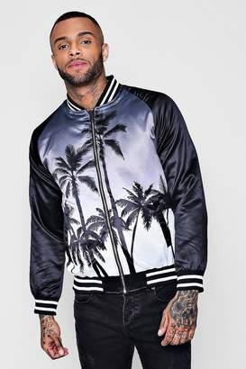 boohoo Ombre Palm Print Bomber Jacket