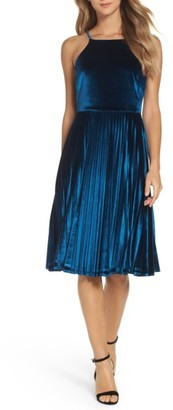 Women's Chelsea28 Pleated Velvet Fit & Flare Dress $139 thestylecure.com