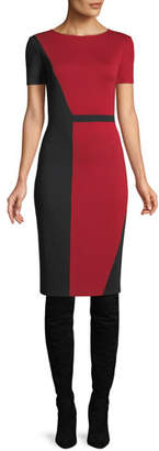 St. John Slanted Colorblock Milano Dress