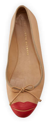 Charlotte Olympia Kiss Me Darcy Leather Flat, Nude/Red
