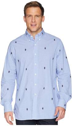 Polo Ralph Lauren Embroidered Bear Gingham Poplin Sport Shirt Men's Clothing