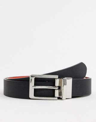 Asos Design DESIGN faux leather slim reversible belt in black and red