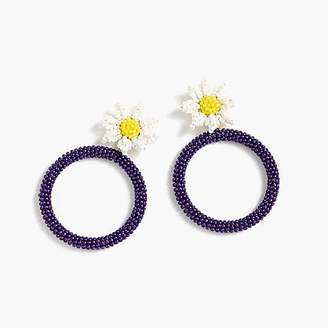 J.Crew Alison Lou X beaded daisy drop-hoop earrings