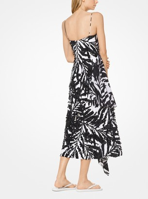 Michael Kors Sequined Palm Crepe-Cady Slip Dress