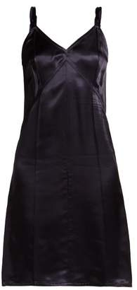 Helmut Lang V Neck Satin Slip Dress - Womens - Navy