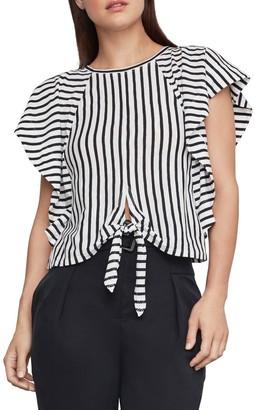 BCBGMAXAZRIA Stripe Cotton Blend Cropped Top