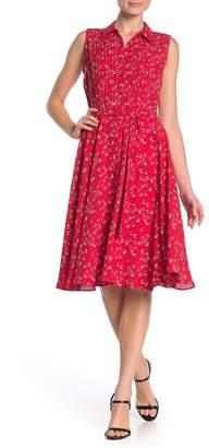 Nanette Lepore NANETTE Sleeveless Patterned Pintuck Pleat Midi Dress