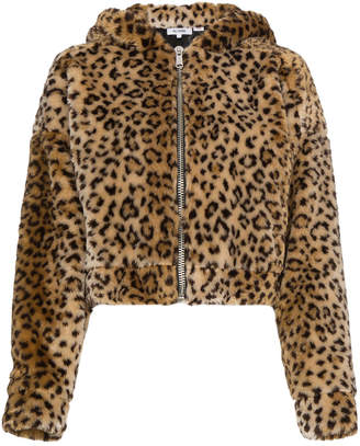 Faux leopard jacket with hood ears