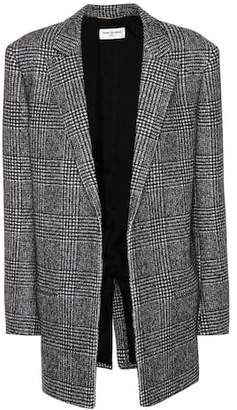 Saint Laurent Glen plaid wool-blend jacket