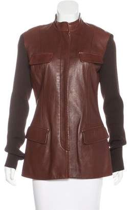 Donna Karan Wool-Trimmed Leather Jacket