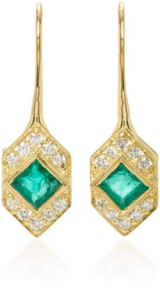 Ila Devon Emerald and Diamond Earrings