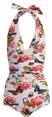 Dolce & Gabbana All The Lovers Print Halterneck Swimsuit - Womens - Pink Multi