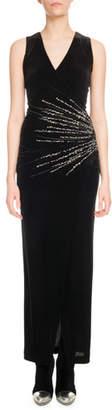 Balmain Sleeveless V-Neck Crystalized-Starburst Velvet Evening Dress