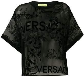 Versace sheer velvet patterned top
