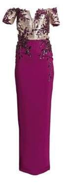 Pamella Roland Off-The-Shoulder Sequin Bodice Gown