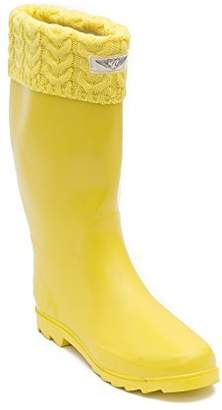 Forever Young Women's & Ladies Tall Below Knee Flat Knit Cuff Rubber Rain Boots / Snow Boots (10, )
