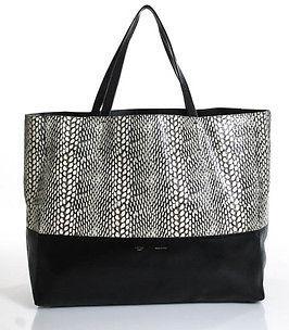 CelineCeline Black Leather Python Trim Cabas Tote Handbag