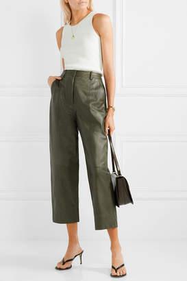 Jason Wu Fatigue Cropped Paneled Leather Straight-leg Pants - Army green