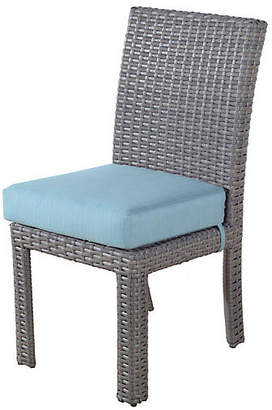 Tropez St. Wicker Dining Side Chair - Gray/Blue - South Sea Rattan