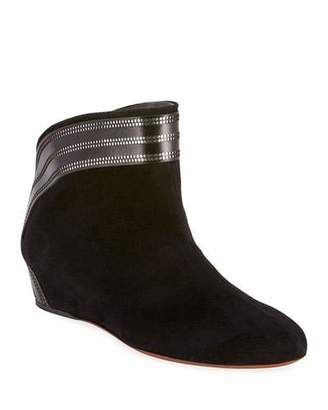 Alaia Perforated Suede Wedge Pull-On Booties