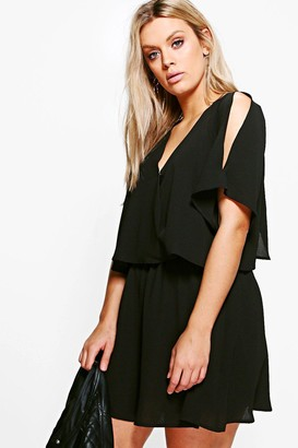 boohoo Plus Ruffle Open Shoulder Dress