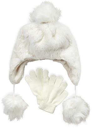 Capelli New York (Girls 4-6x) Two-Piece Faux Fur Pom-Pom Hat & Gloves Set
