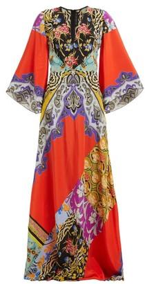 Etro Somerset Patchwork Silk Maxi Dress - Womens - Orange Multi