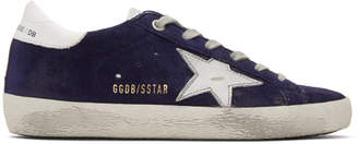 Golden Goose Navy Suede Superstar Sneakers