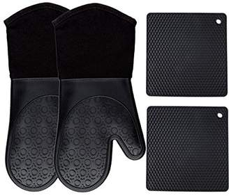 Homwe Silicone Oven Mitts and Potholders (4-Piece Sets)
