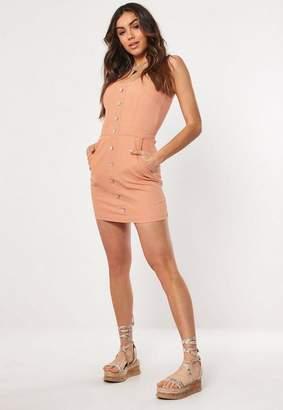 Missguided Button Through Stretch Denim Mini Dress