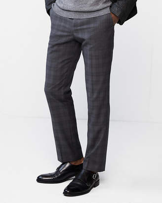Express Slim Dark Gray Plaid Wool-Blend Dress Pant
