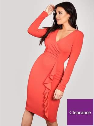 River Island Sistaglam Loves Jessica Ruffle Side Bodycon Wrap Midi Dress - Red
