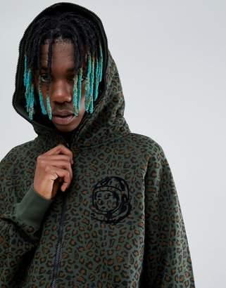 Billionaire Boys Club Leopard Print Zip Through Hoodie In Green
