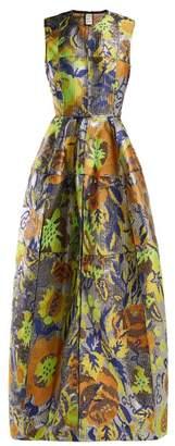 Maison Rabih Kayrouz Mosaic Patchwork Floral Jacquard Gown - Womens - Silver Multi