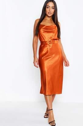 boohoo Satin Belted Cowl Neck Midi Dress