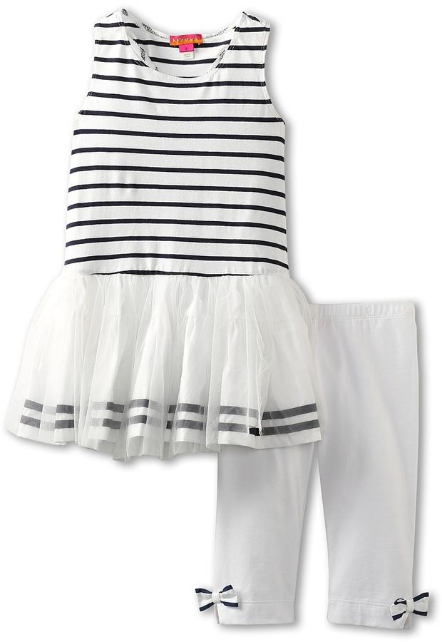 Kate Mack Seaside Petals Tunic and Capri Set (Big Kids) (White) - Apparel