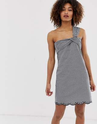 Pepe Jeans Chelo gingham one shoulder dress