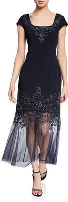 Aidan Mattox Beaded Cap-Sleeve Mermaid Cocktail Dress w/ Illusion Hem