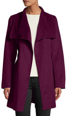 T Tahari Ella Double-Face Wool Wrap Coat