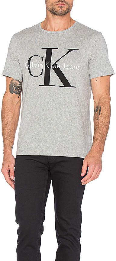 Calvin Klein Short Sleeve Logo Crew Neck in Gray