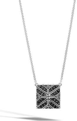 John Hardy Modern Chain Black Sapphire Box Pendant Necklace