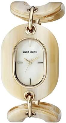 Anne Klein Women's AK/2674HNGB Gold-Tone and Horn Open Link Bracelet Watch