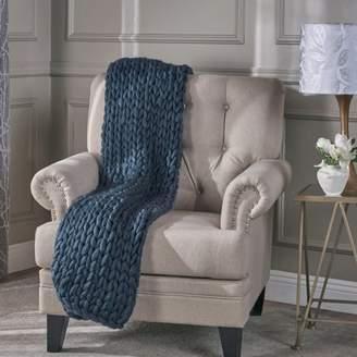 Noble House Maynard Acrylic Fabric Throw Blanket,Blue
