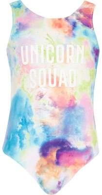 River Island Girls pink tie dye 'unicorn squad' swimsuit