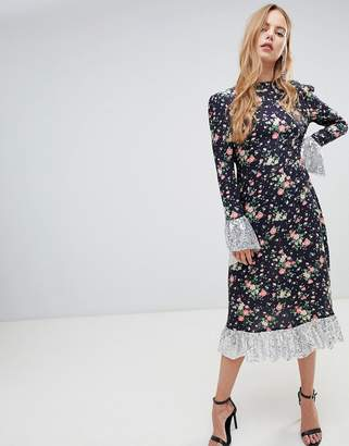 Asos Design DESIGN midi dress in ditsy print with sequin detail