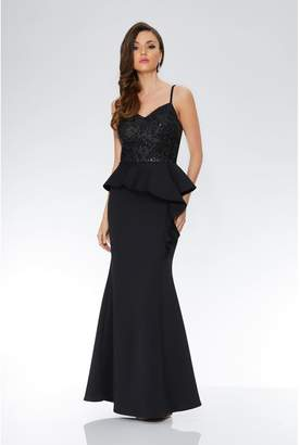 Quiz Black Strappy Sequin Embellished Peplum Maxi Dress