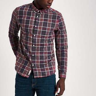 River Island Red check long sleeve button-down shirt