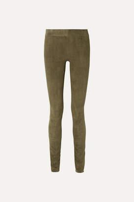 The Row Tomo Paneled Stretch-suede Skinny Pants - Mushroom