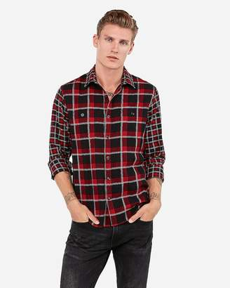 Express Slim Plaid Lightweight Flannel Shirt